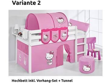 Hochbett Spielbett Jelle Hello Kitty Rosa mit Vorhang, weiß, Variante 2 - Rosa