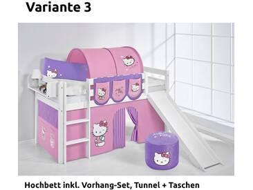 Hochbett Spielbett Jelle Hello Kitty Lila mit Rutsche und Vorhang, weiß, Variante 3 - Lila