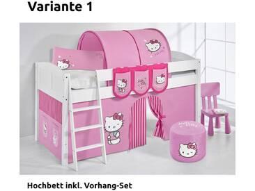 Hochbett Spielbett IDA Hello Kitty Rosa, mit Vorhang, weiß, Variante 1 - Rosa