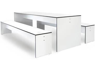 Conmoto Riva - Kombi L / 220 - Tisch und 2 Bänke weiss (ohne Auflagen)
