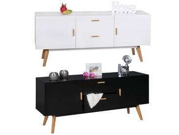FineBuy Retro Sideboard Scanio MDF-Holz 2 Schubladen & Türen skandinavisch | Design Flur-Kommode 160