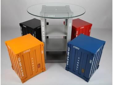 point-home, 5-er Set, Design-Möbel, Tisch, Stuhl, Retrolook Container, Retro