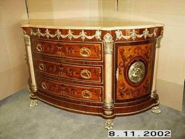 Barock Kommode Anrichte schwarzer Marmor Antik Stil LouisXV MoBa0550bg