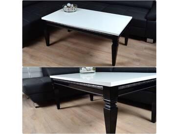 Barock Design Couchtisch 100x60x50cm Hochglanz weiss schwarz Lack Tisch Sofa - weiss