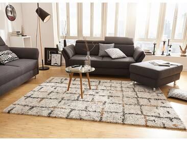 Design Teppich Hochflor Langflor Grid creme