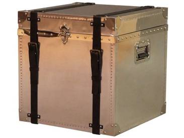 Truhe Selby Aluminium Vintage Leder 3 Schubladen Kommode