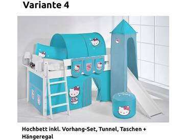 Hochbett Spielbett IDA Hello Kitty Türkis, mit Turm, Rutsche und Vorhang, weiß, Variante 4