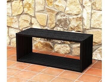 Bank D-Stil Modern Gartenbank 11671 Sitzbank 100cm aus Metall Eisen Blumenbank - schwarz
