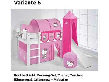 Hochbett Spielbett Jelle Hello Kitty Rosa mit Turm, Rutsche und Vorhang, weiß, Variante 6 - Rosa