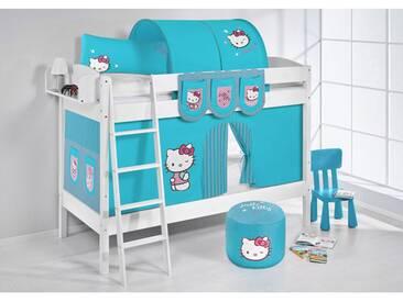 Etagenbett IDA Hello Kitty Türkis, mit Vorhang, weiß, Variante 1 - weiss