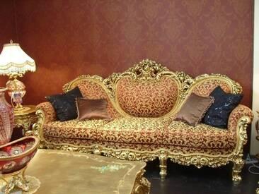 Barock Sofa 3er 3-Sitzer Antik Stil silber Vp0833