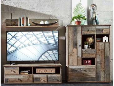 Wohnwand Wohnzimmer-Set 3tlg. Lowboard Wandregal TV Tisch vintage shabby retro