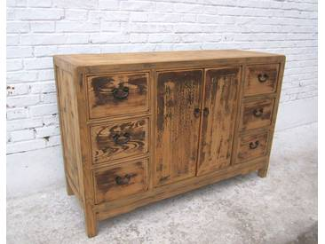 shabby chic China massive cabinet buffet natural pine stained como I D Sd.d.25 - natural