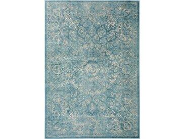 benuta CLASSIC Teppich  Velvet Blau 120x170 cm - Vintage Teppich im Used-Look