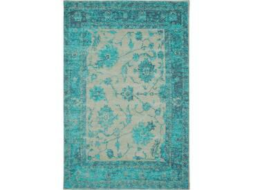 benuta TRENDS Flachgewebe Teppich Frencie Flora Türkis 100x160 cm - Vintage Teppich im Used-Look