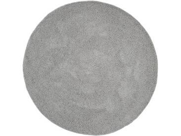 benuta ESSENTIALS Hochflor Shaggy Teppich Swirls Grau ø 120 cm rund - Langflor Teppich für Wohnzimmer