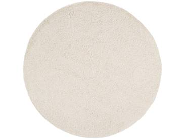 benuta ESSENTIALS Hochflor Shaggy Teppich Swirls Beige ø 200 cm rund - Langflor Teppich für Wohnzimmer