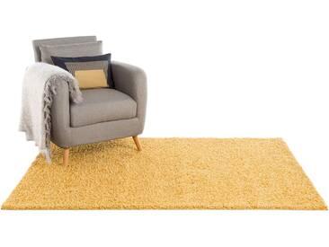 Hochflor Shaggy Teppich Swirls Gelb 80x150 cm - Bettvorleger für Schlafzimmer