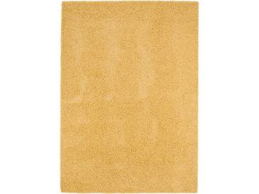benuta ESSENTIALS Hochflor Shaggy Teppich Swirls Gelb 160x230 cm - Langflor Teppich für Wohnzimmer