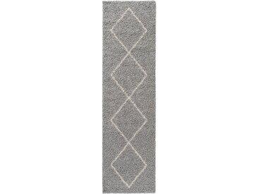 benuta ESSENTIALS Hochflorteppich Beni Grau 80x300 cm - Berber Teppich