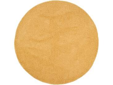 benuta ESSENTIALS Hochflor Shaggy Teppich Swirls Gelb ø 120 cm rund - Langflor Teppich für Wohnzimmer