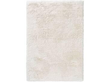 benuta ESSENTIALS Hochflor Shaggy Teppich Lea Weiß 200x200 cm - Langflor Teppich für Wohnzimmer