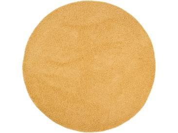 benuta ESSENTIALS Hochflor Shaggy Teppich Swirls Gelb ø 250 cm rund - Langflor Teppich für Wohnzimmer