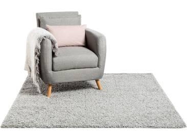 Hochflor Shaggy Teppich Swirls Grau 60x60 cm - Bettvorleger für Schlafzimmer