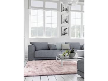 benuta ESSENTIALS Kurzflor Teppich Donna Viscose Rosa 200x200 cm - Moderner Teppich für Wohnzimmer