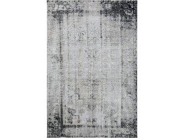 benuta TRENDS Flachgewebeteppich Frencie Schwarz/Grau 80x165 cm - Vintage Teppich im Used-Look