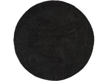 benuta ESSENTIALS Hochflor Shaggy Teppich Swirls Anthrazit ø 250 cm rund - Langflor Teppich für Wohnzimmer