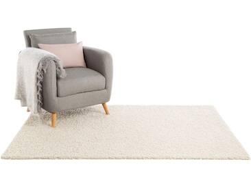 Hochflor Shaggy Teppich Swirls Beige 80x150 cm - Bettvorleger für Schlafzimmer