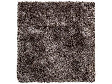 benuta ESSENTIALS Hochflor Shaggyteppich Sophie Braun 200x200 cm - Langflor Teppich für Wohnzimmer