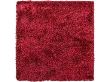 benuta ESSENTIALS Hochflor Shaggyteppich Sophie Rot 200x200 cm - Langflor Teppich für Wohnzimmer