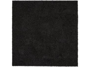 benuta ESSENTIALS Hochflor Shaggy Teppich Swirls Anthrazit 300x300 cm - Langflor Teppich für Wohnzimmer