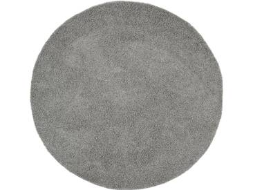 benuta ESSENTIALS Hochflor Shaggy Teppich Swirls Dunkelgrau ø 250 cm rund - Langflor Teppich für Wohnzimmer