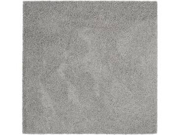benuta ESSENTIALS Hochflor Shaggy Teppich Swirls Dunkelgrau 200x200 cm - Langflor Teppich für Wohnzimmer