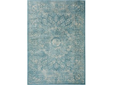 benuta CLASSIC Teppich  Velvet Blau 140x200 cm - Vintage Teppich im Used-Look