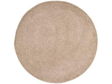benuta ESSENTIALS Hochflor Shaggy Teppich Swirls Taupe ø 200 cm rund - Langflor Teppich für Wohnzimmer