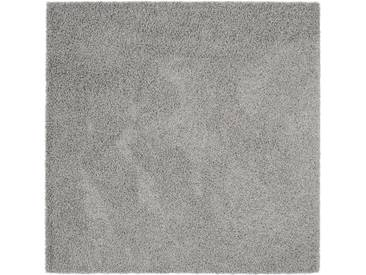 benuta ESSENTIALS Hochflor Shaggy Teppich Swirls Dunkelgrau 160x160 cm - Langflor Teppich für Wohnzimmer
