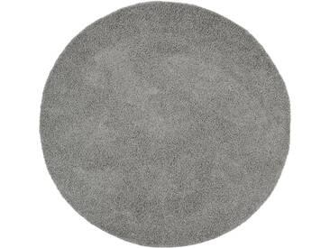 benuta ESSENTIALS Hochflor Shaggy Teppich Swirls Dunkelgrau ø 120 cm rund - Langflor Teppich für Wohnzimmer