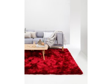 benuta ESSENTIALS Hochflor Shaggyteppich Whisper Rot 80x150 cm - Bettvorleger für Schlafzimmer