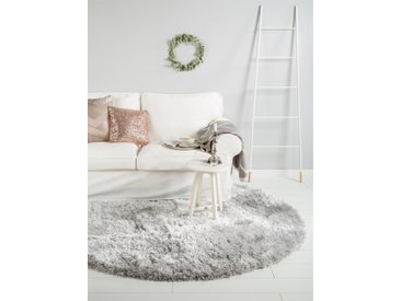 benuta ESSENTIALS Hochflor Shaggy Teppich rund Lea Grau ø 160 cm rund - Langflor Teppich für Wohnzimmer