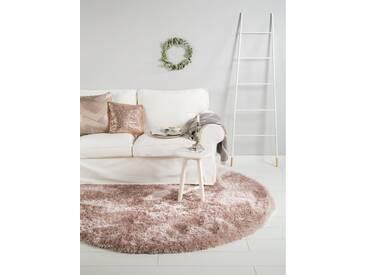 benuta ESSENTIALS Hochflor Shaggy Teppich rund Lea Rosa ø 200 cm rund - Langflor Teppich für Wohnzimmer
