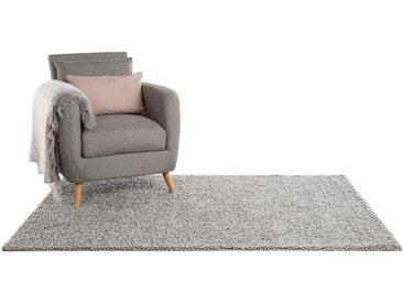 benuta ESSENTIALS Hochflor Shaggyteppich Swirls Grau 80x150 cm - Bettvorleger für Schlafzimmer
