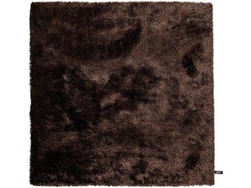 benuta ESSENTIALS Hochflor Shaggyteppich Whisper Dunkelbraun 60x60 cm - Bettvorleger für Schlafzimmer