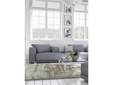 benuta ESSENTIALS Kurzflor Teppich Donna Viscose Grau 200x200 cm - Moderner Teppich für Wohnzimmer