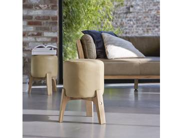 Hocker Drum cream und Eiche