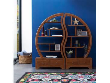 Bücherregal aus Teak 155x155 Sphère bi Ying Yang