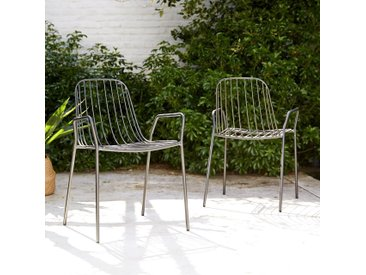 Outdoor Lehnstuhl aus dunkelgrau lackiertem Metall Arty grey Stuhl mit Armlehnen